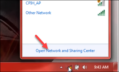 Chọn Open network and sharing center