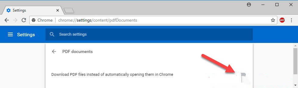"Click vào dòng ""Download PDF files instead of automatically..."""