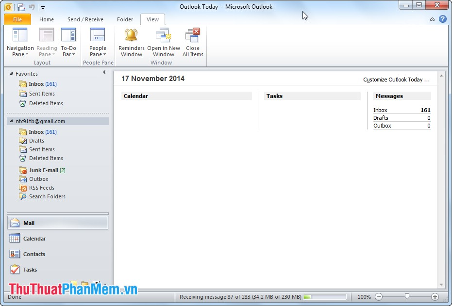 Giao diện Microsoft Outlook