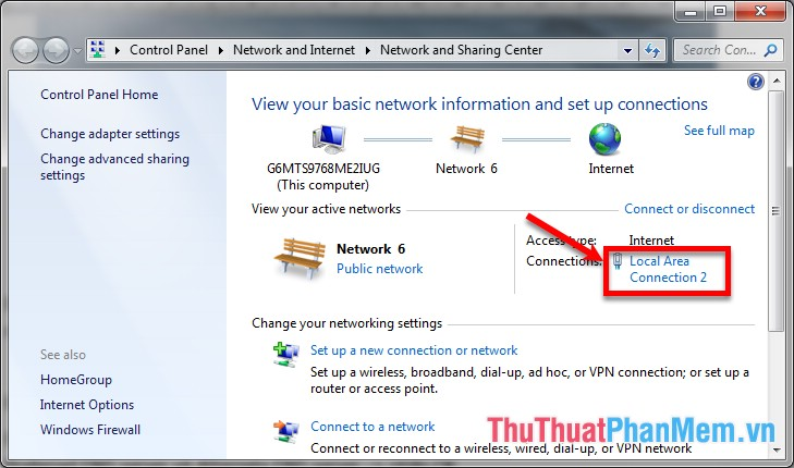 Trong phần Connections các bạn chọn Local Area Connection