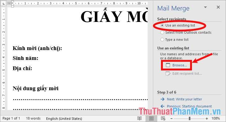 Chọn Use an existing list, tiếp theo chọn Browse