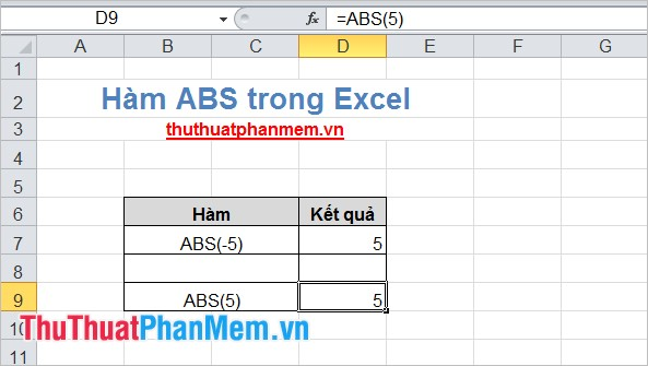 Hàm ABS trong Excel 2