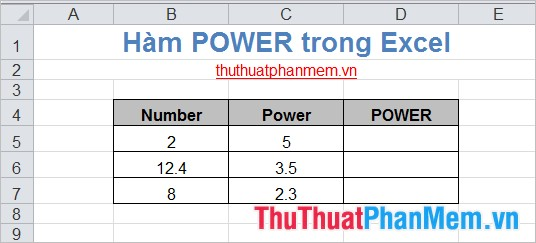 Hàm POWER trong Excel 2
