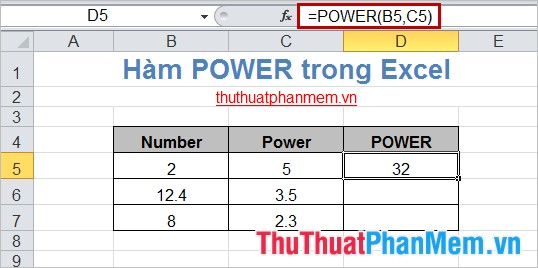 Hàm POWER trong Excel 3
