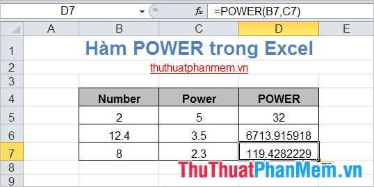 Hàm POWER trong Excel 4