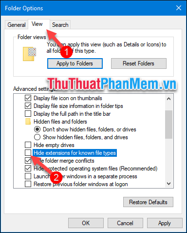 Bỏ tích chọn ở dòng Hide extensions for know file types