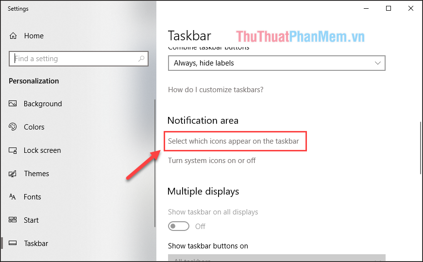 Trong cửa sổ settings chọn Select which icons apear on the taskbar
