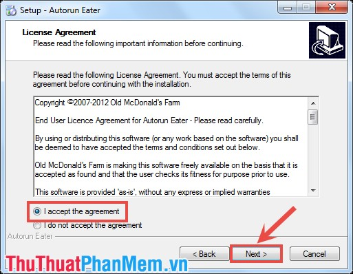 Giao diện License Agreement