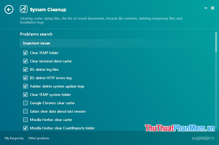 Giao diện System Cleanup