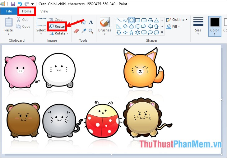 Trong thẻ Home chọn Resize